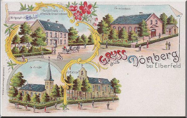 """Postkarte """"Gruss aus Dönberg"""" mit Posthülfstelle und öffentl. Fernsprechstelle, Ev. Kirche, Kath. Kirche und Vereinshaus zur Verfügung gestellt von Kurt Lembeck"""