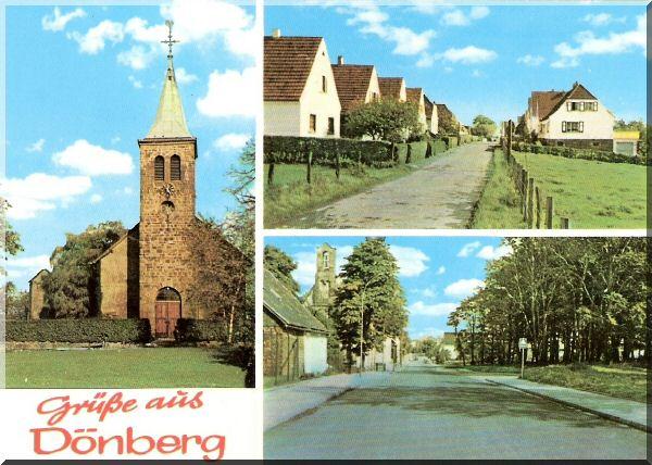 """Postkarte """"Grüße aus Dönberg"""" mit Evangelischer Kirche, Mühlenweg und Höhenstraße mit Kath. Kirche zur Verfügung gestellt von H.-J. Lüppken"""