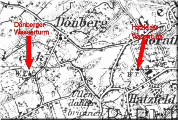 Dönberg auf einer Ansichtskarte aus dem Jahr 1931 mit Lageangabe der Wassertürme