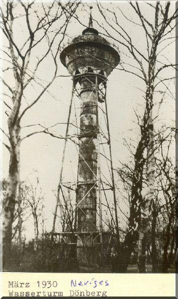 Dönberger Wasserturm, März 1930 Quelle: Stadtarchiv Velbert