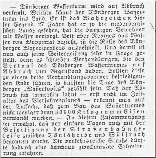 Zeitungsartikel zum Wasserturm v. 05.07.1938 Quelle: Stadtarchiv Velbert